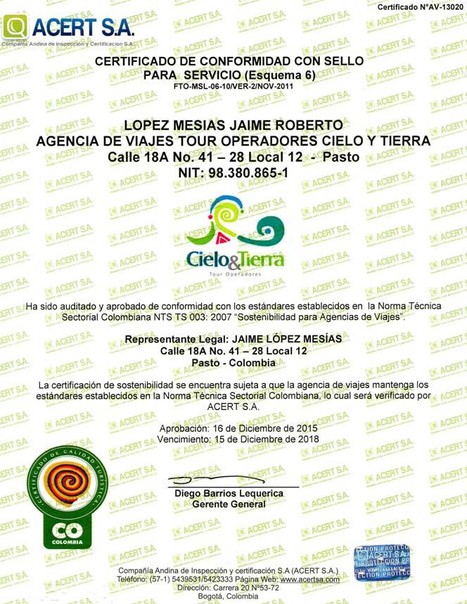 Certificado de Conformidad con sello para servicio